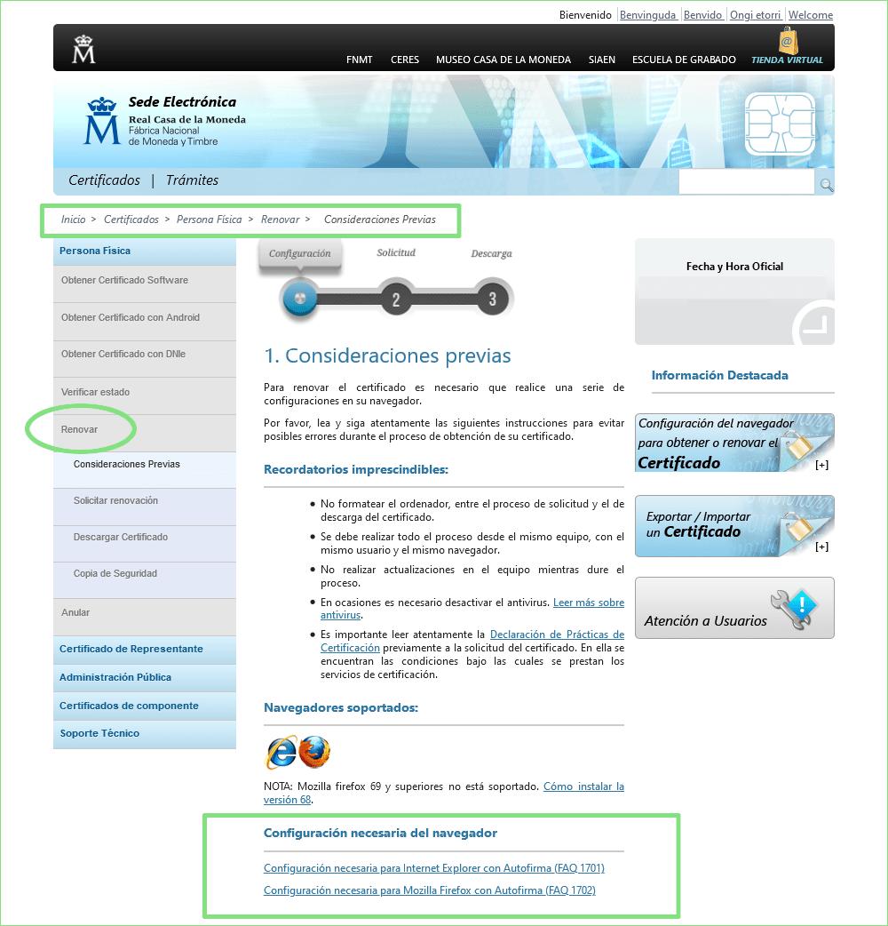Pantalla FMT configurador navegadores
