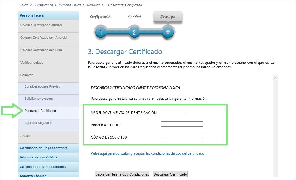 FNMT pantalla descargar certificado digital
