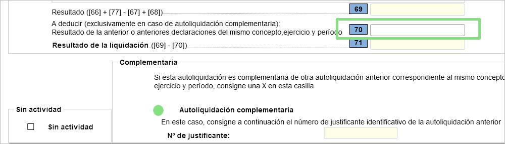 Modelo 303 IVA Casilla 70 declaración complementaria