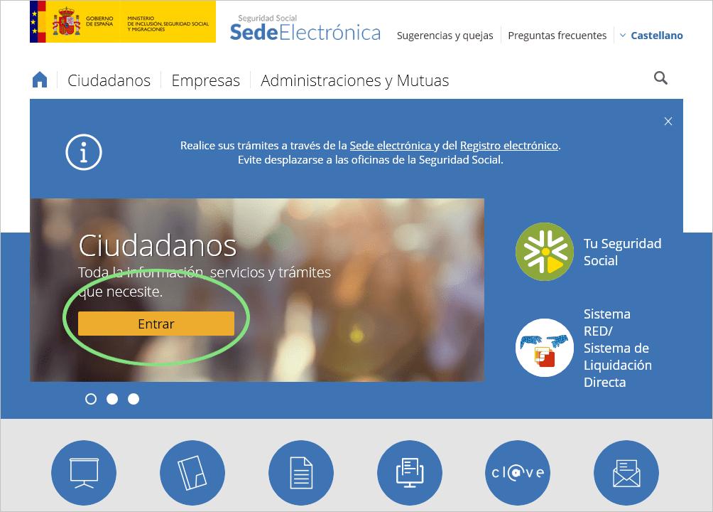 Página web Seguridad Social Sede Electrónica
