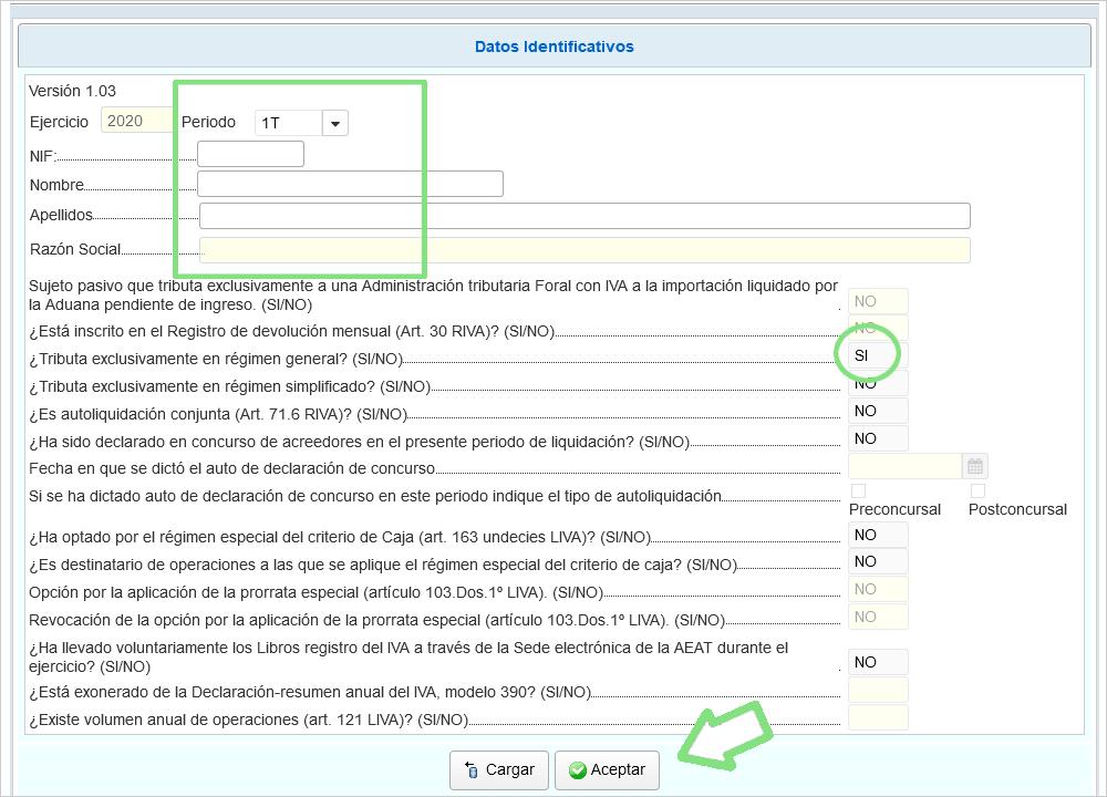 Pantalla datos iniciales de acceso al formulario