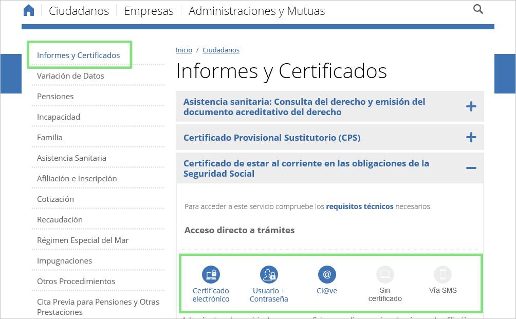 Página web Seguridad Social Sede Electrónica, Informes y Certificados