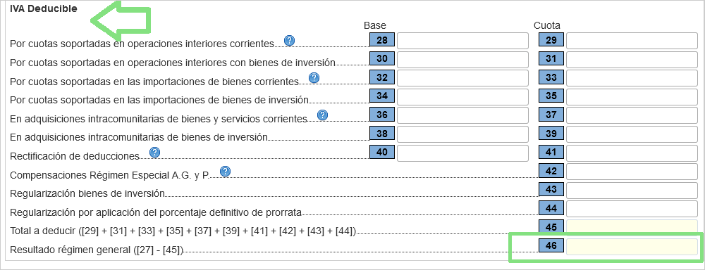 Casillas IVA Deducible operaciones interiores