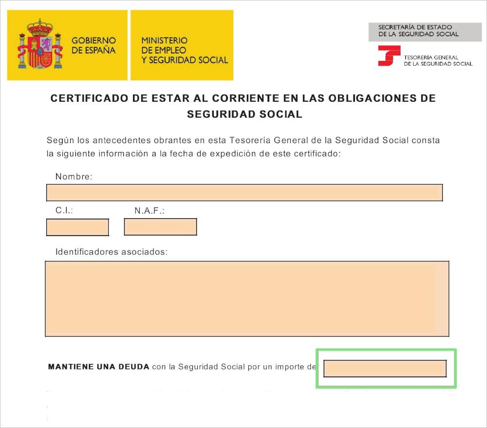 Certificado de estar al corriente de obligaciones con la Seguridad Social