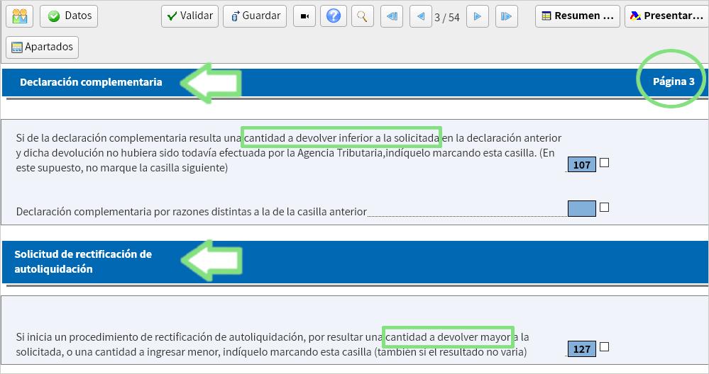Pantalla Renta Web declaración complementaria o rectificación