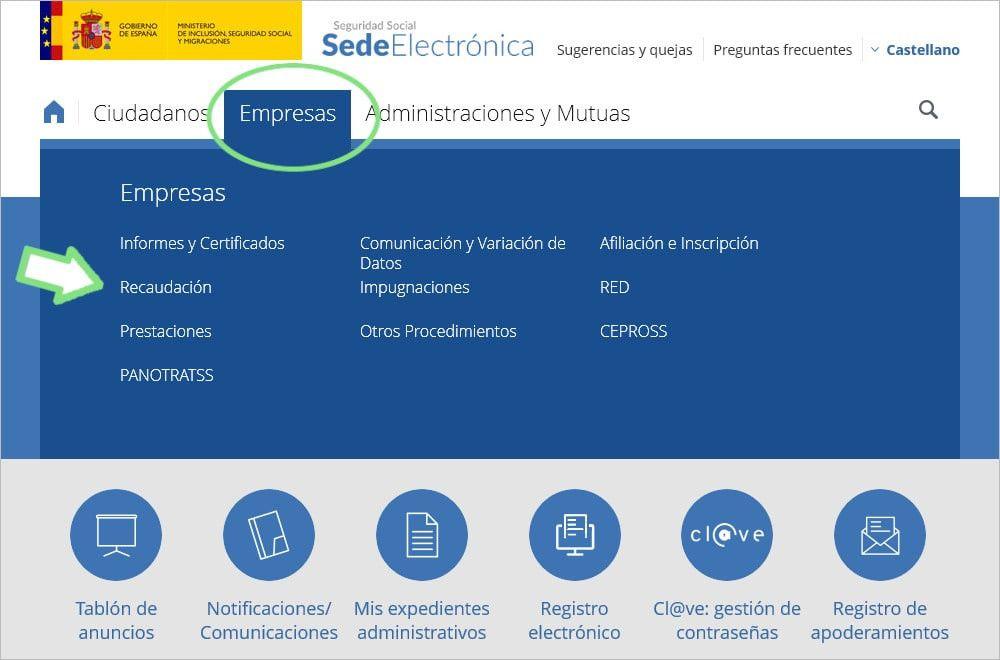 Página Seguridad Social, Sede Electrónica, Empresas