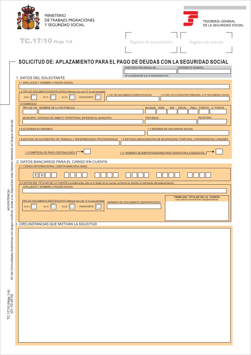 Impreso TC17/10 Seguridad Social solicitud de aplazamientos