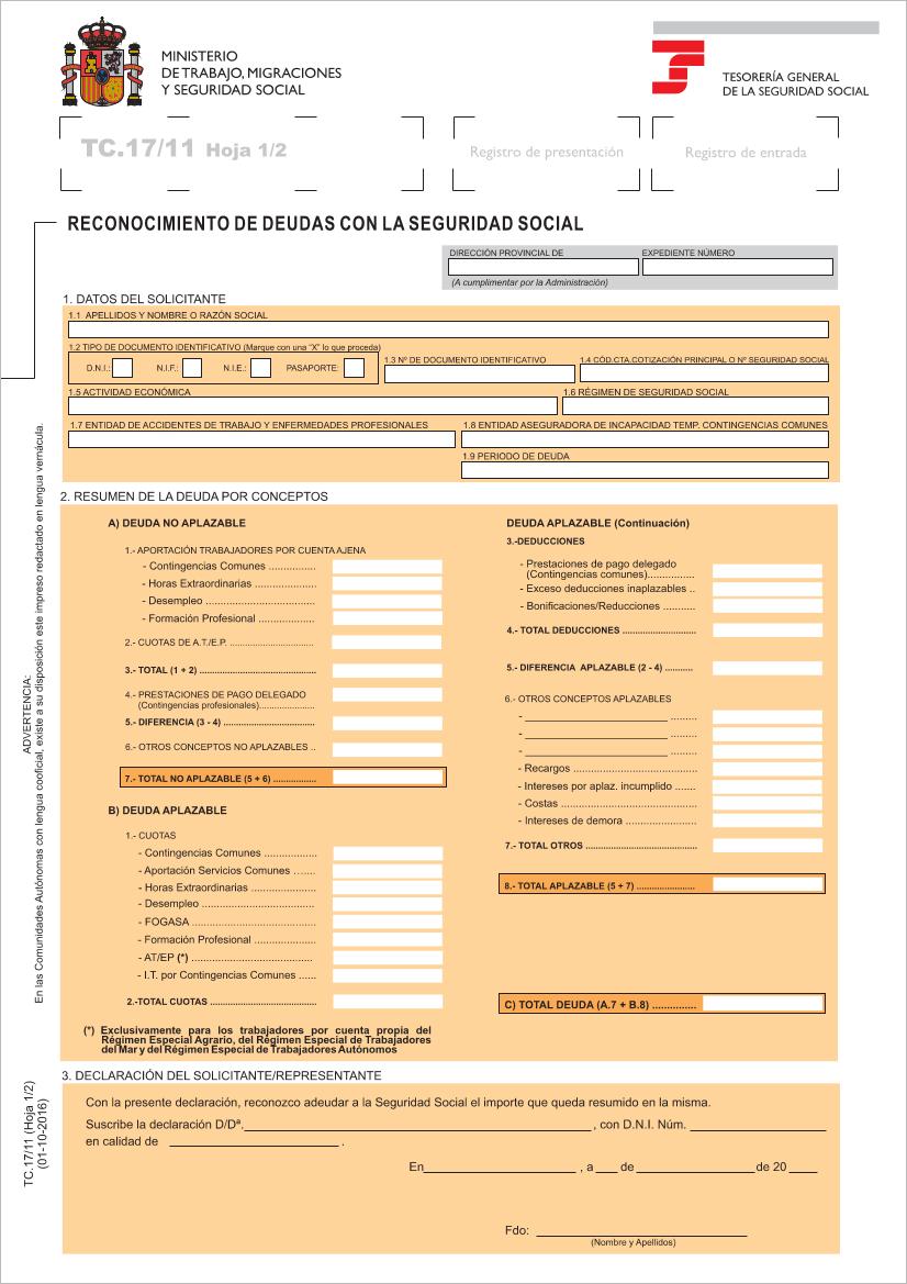 Impreso TC17/11 Seguridad Social reconocimiento de deuda