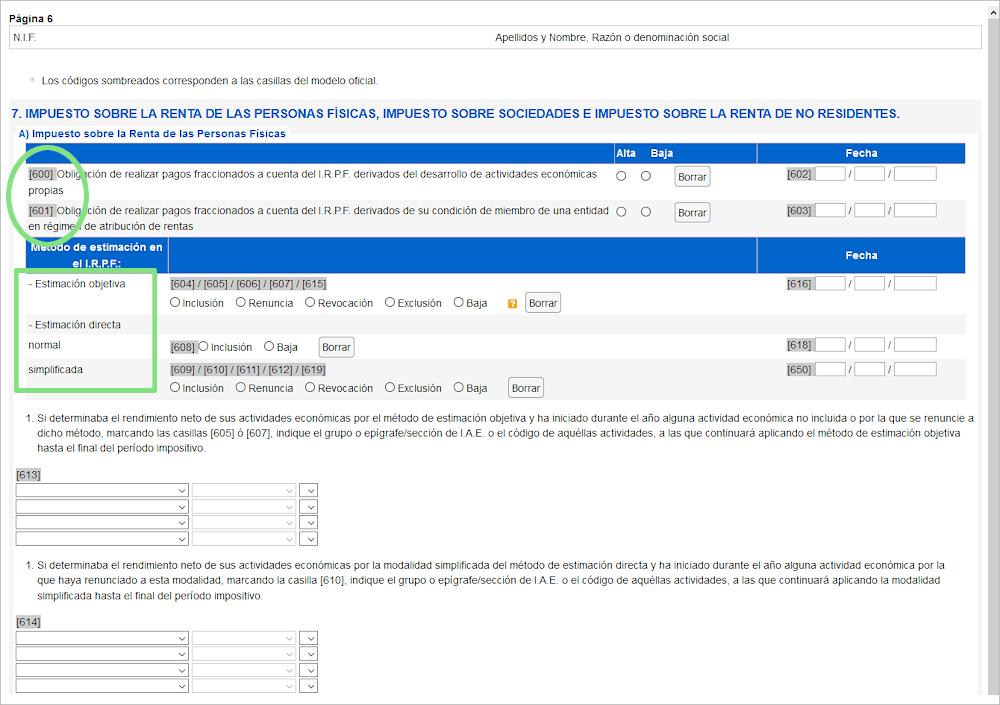 Pantalla modelo 036 selecciona método de IRPF