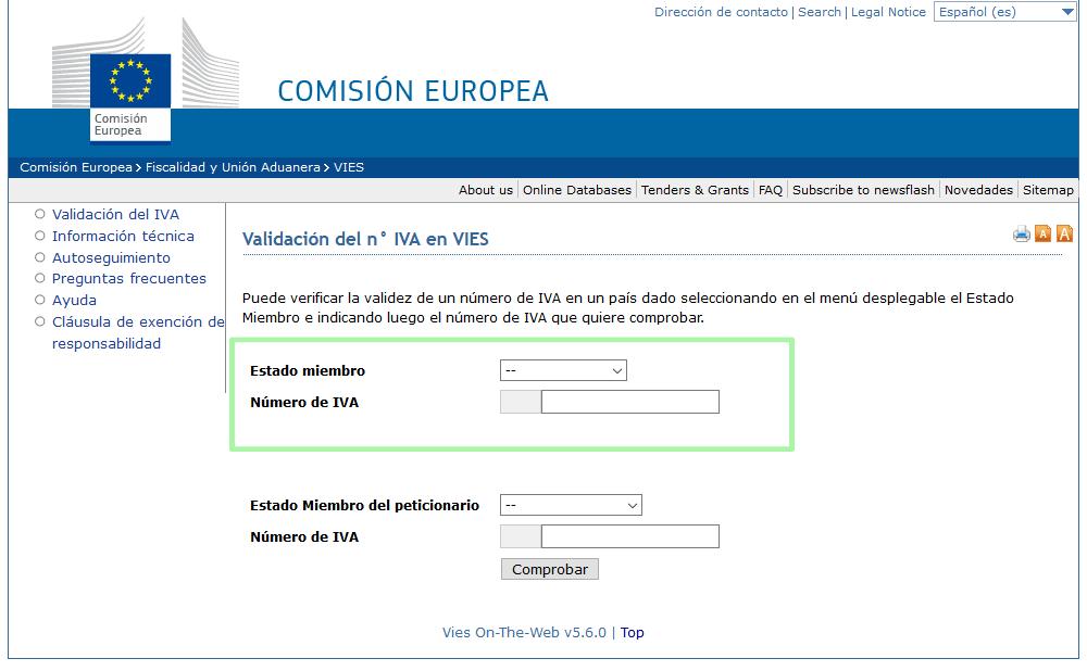 página de la Unión Europea