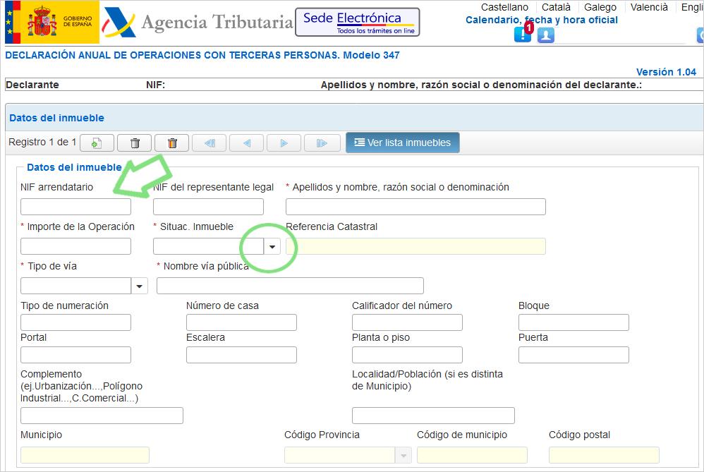 Modelo 347 Datos del local de negocio si eres el propietario y no tiene IRPF