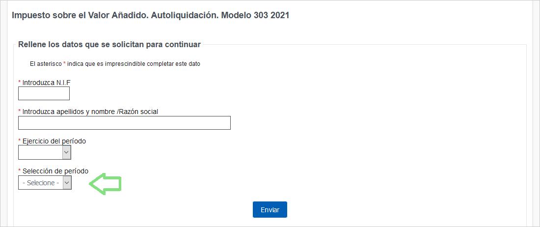 Modelo 303 IVA datos básicos inicio formulario