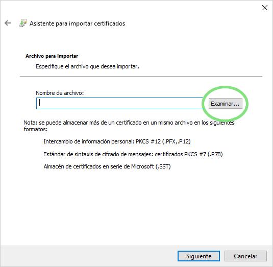 Instalar en otro ordenador: donde habías guardado el fichero del certificado digital
