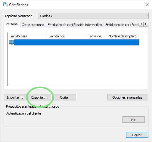 exportar para poder sacarlo y pasar el certificado al otro ordenador.