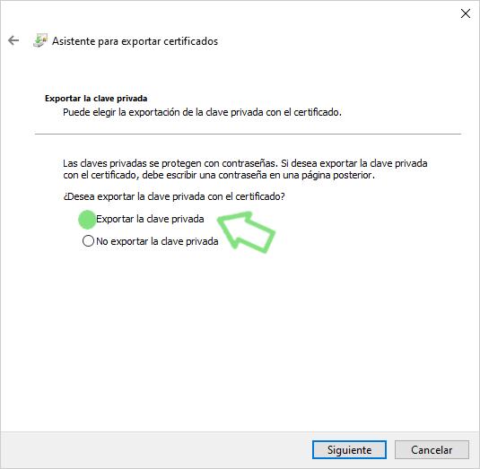 exportar o hacer la copia. certificado digital