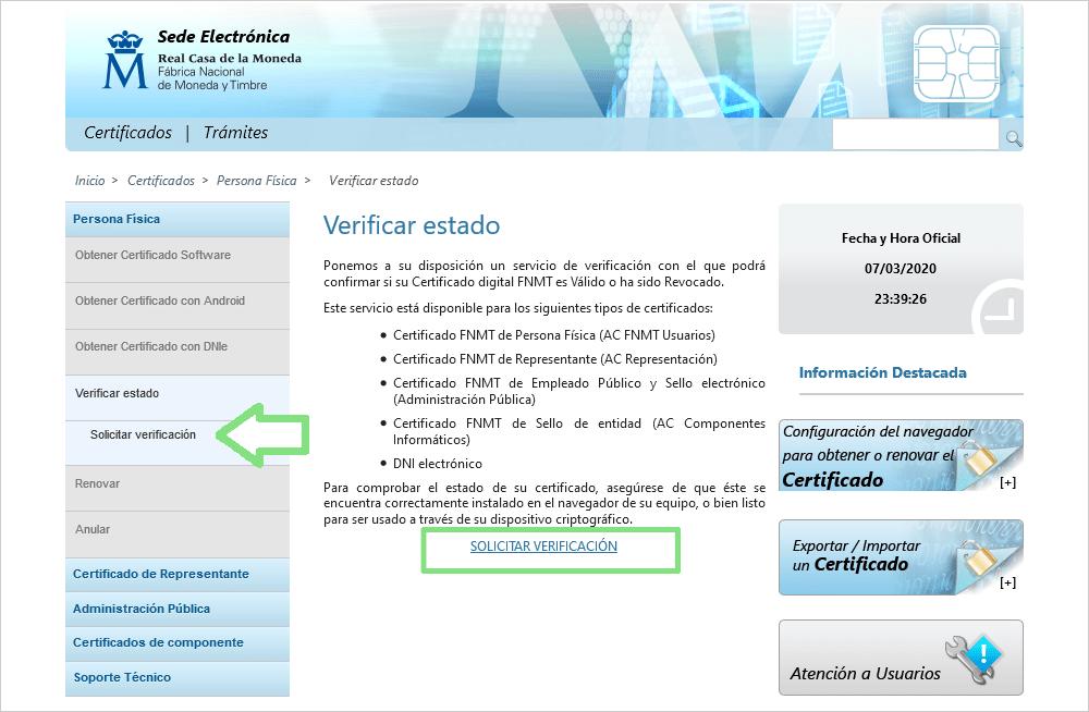 Pantalla FNMT verificación de estado, caducidad