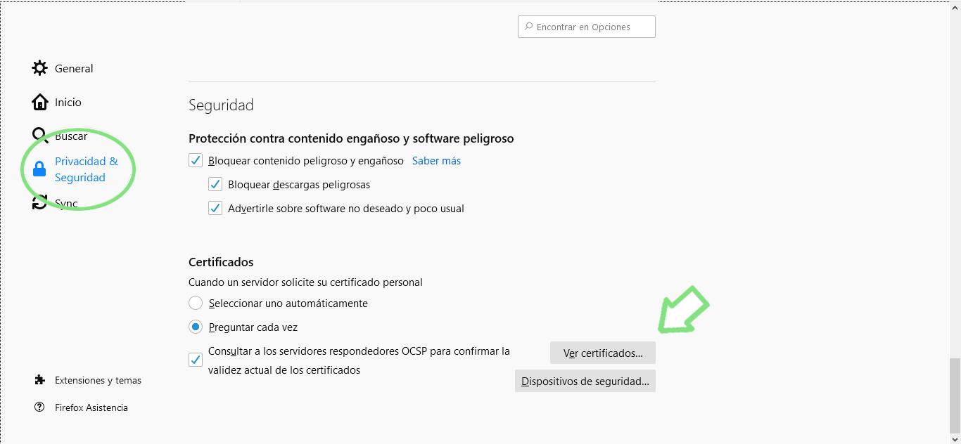 Sacar certificado digital de Mozilla Firefox