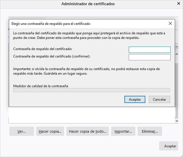 Pantalla contraseña certificado digital en Mozila Firefox