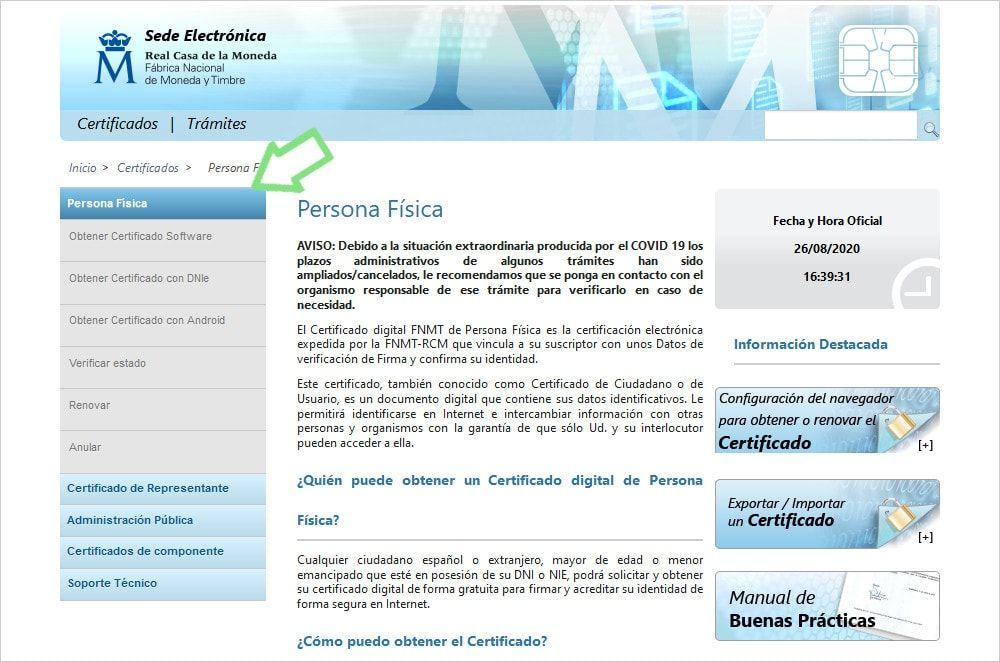 Página FNMT Sede Electrónica selección certificado persona física o de representante