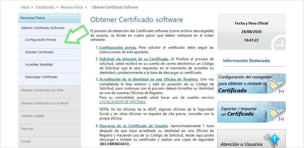 Consideraciones previas configurar navegador