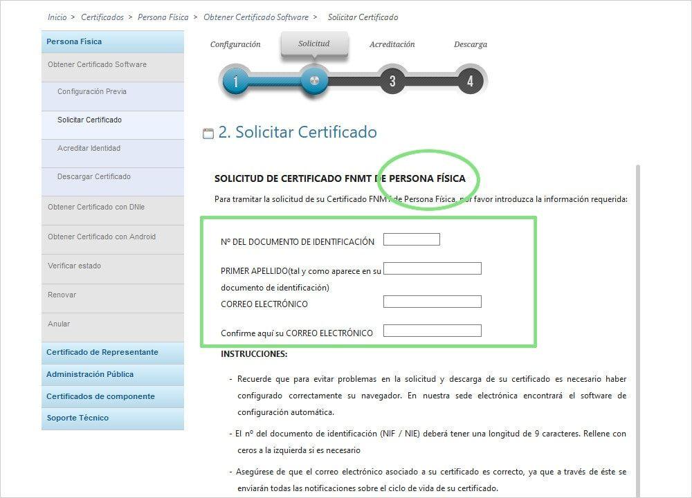 Solicitud de certificado digital para personas físicas