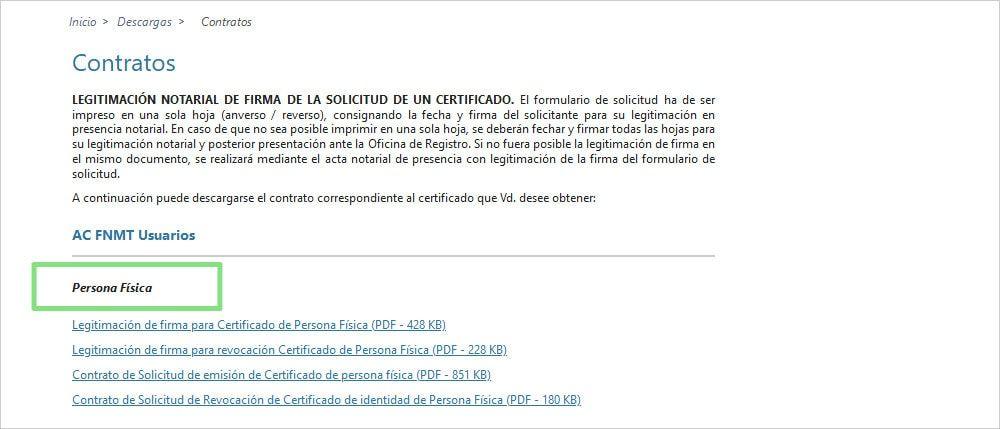 Página FNMT impresos para certificados digitales