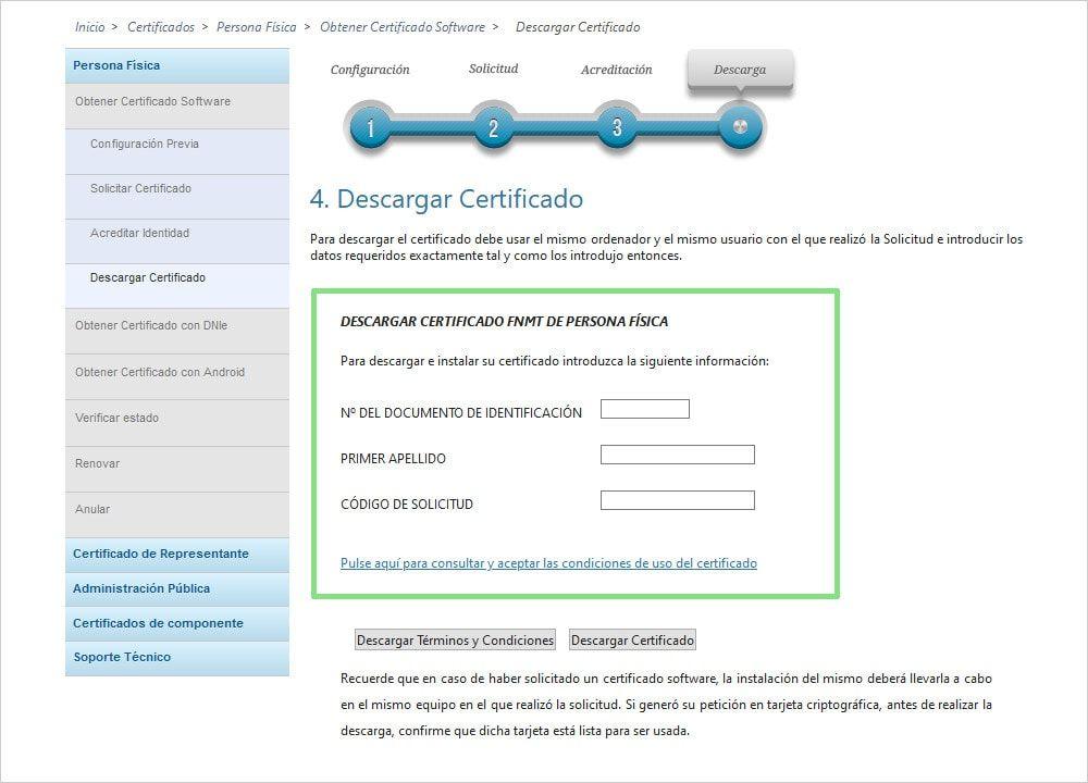 Pago y descarga de certificado digital
