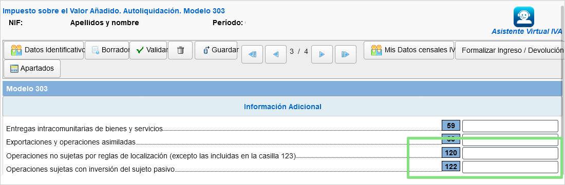 Casillas 120 y 122 modelo303